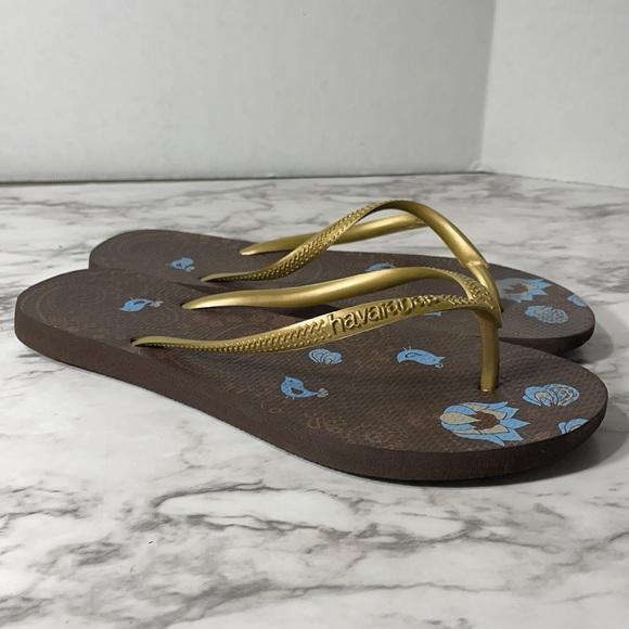 HAVAIANAS slim bird print metallic gold flip flop sandal shoe